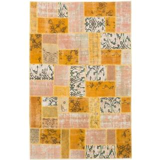 Ecarpetgallery Hand-knotted Color Transition Patch Orange Wool Rug (5'6 x 8'6)