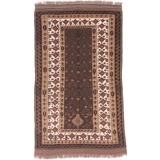 Ecarpetgallery Hand-knotted Tajik Caucasian Beige/ Brown Wool Rug (4'11 x 8'2)
