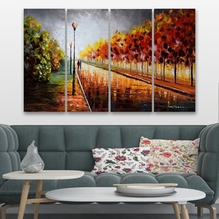 Hand-painted Landscape Trees Stormy Autumn - 48 x 28in