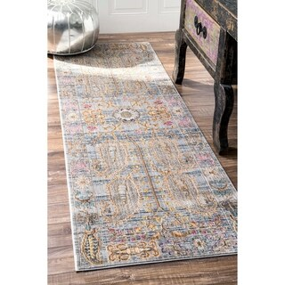 nuLOOM Traditional Vintage Fancy Floral Grey/Multi Runner Rug (2u00276 ...