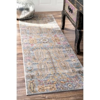 nuLOOM Traditional Vintage Fancy Floral Grey/Multi Runner Rug (2'6 x 8')