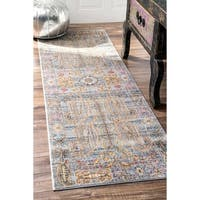 nuLoom Traditional Vintage Fancy Floral Grey/Multicolor Runner Rug (2' 6 x 8')