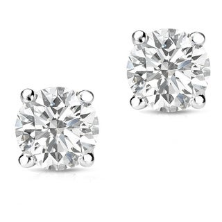 Auriya 14k Gold 1/3ct TDW Round-Cut Diamond 4-Prong Screw-Back Single Stud Earring (H-I, SI1-SI2)