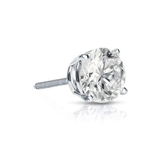 Auriya 14k Gold 1/3ct TDW Round-Cut Diamond 4-Prong Screw-Back Single Stud Earring (I-J, SI2-SI3)