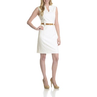 Tahari Women's V-Neck Belted Dress