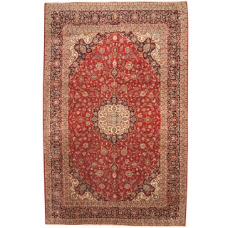 Herat Oriental Persian Hand-knotted 1960s Semi-antique Kashan Wool Rug (9'10 x 15'1)
