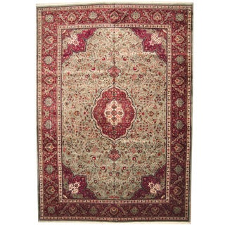 Herat Oriental Persian Hand-knotted 1950s Semi-antique Sarouk Wool Rug (11'4 x 16'2) - 11'4 x 16'2