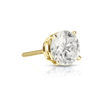 Auriya 14k Gold 1/3ct TDW Round-Cut Diamond Screw-Back Single Stud Earring