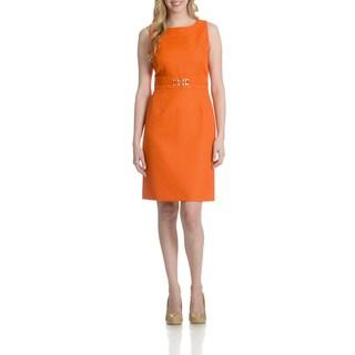 Tahari Women's Textured Faux Belt Dress