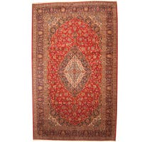 Herat Oriental Persian Hand-knotted 1960s Semi-antique Kashan Wool Rug (10'3 x 16'7) - 10'3 x 16'7