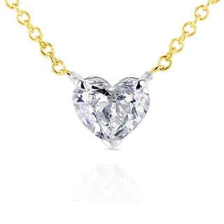 Annello 14k Yellow Gold Floating Heart Certified 1/2ct Diamond Solitaire Necklace (G-I, I1)