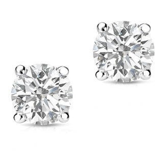 Auriya 14k Gold 3/4ct TDW Round-Cut Diamond 4-Prong Screw-Back Single Stud Earring (H-I, SI1-SI2)