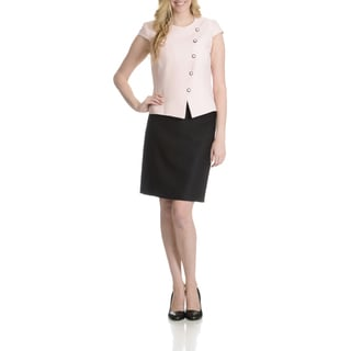 Tahari Women's Textured Asymmetrical Button Front 2 Piece Skirt Suit