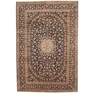Herat Oriental Persian Hand-knotted 1960s Semi-antique Kashan Wool Rug (10' x 14'10)