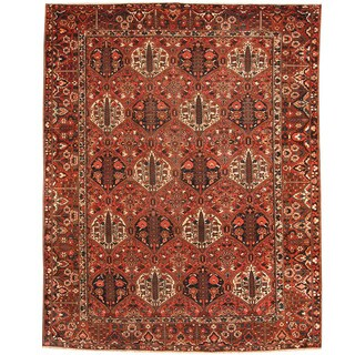 Herat Oriental Persian Hand-knotted 1920s Antique Bakhtiari Wool Rug (11' x 13'6)