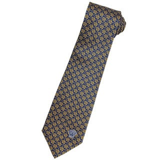 Versace 100-percent Italian Silk Blue/ Gold Floral Neck Tie