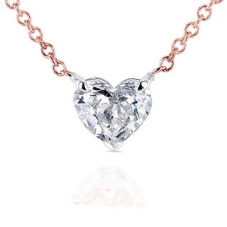 Annello 14k Rose Gold Floating Heart Certified 1/2ct Diamond Solitaire Necklace (G-I, I1)