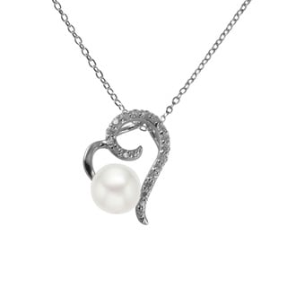 GIG Jewels Sterling Silver White Cultured Freshwater Pearl and CZ Gemstones Heart Necklace (8-9 mm)
