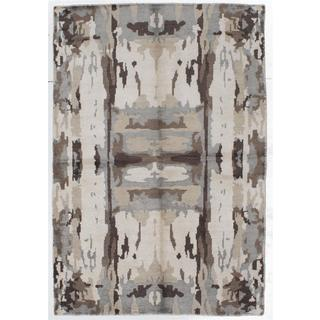 Ecarpetgallery Hand-knotted Jules Ushak Beige/ Brown Art Silk Rug (5'6 x 8')