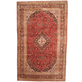 Herat Oriental Persian Hand-knotted 1960s Semi-antique Kashan Wool Rug (9'9 x 15'7)