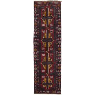 Ecarpetgallery Hand-knotted Bahor Red Wool Runner Rug (2'8 x 9'11)
