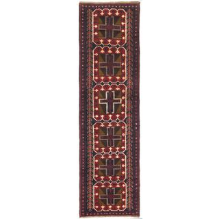 Ecarpetgallery Hand-knotted Bahor Blue/ Red Wool Runner Rug (2'9 x 9'8)