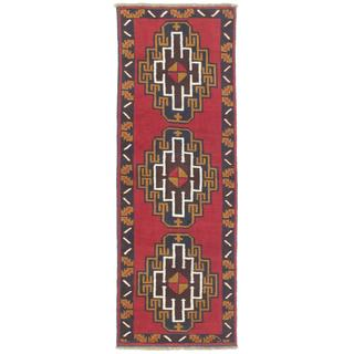 Ecarpetgallery Hand-knotted Kazak Blue/ Red Wool Runner Rug (2'3 x 6'6)