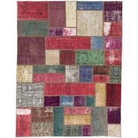 Ecarpetgallery Hand-knotted Color Transition Patch Red Wool Rug (5'6 x 7'2)