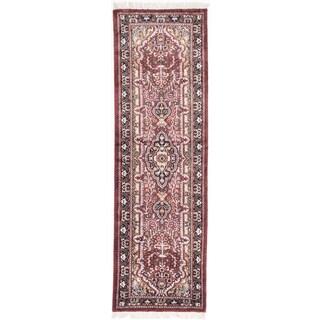 Ecarpetgallery Hand-knotted Kashmir Red Silk Runner Rug (2'1 x 6'8)