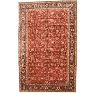 Herat Oriental Persian Hand-knotted 1960s Semi-antique Tabriz Wool Rug (10' x 15'8)