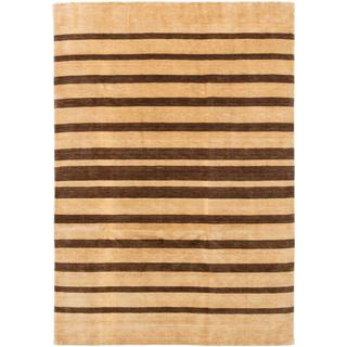 Ecarpetgallery Hand-knotted Luribaft Gabbeh Riz Brown/ Yellow Wool Rug (6'9 x 9'8)