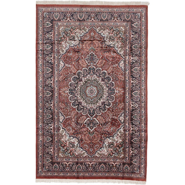 Ecarpetgallery Hand-knotted Kashmir Brown Silk Rug (5'10 x 9'3) - 5'10 x 9'3