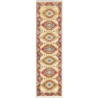 Ecarpetgallery Hand-knotted Royal Kazak Red/ Yellow Wool Runner Rug (2'8 x 10'1)