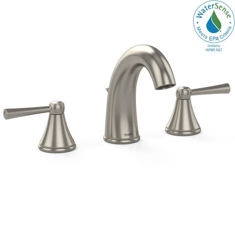 Toto Silas Two Handle Widespread 1.5 GPM Bathroom Sink Faucet, Brushed Nickel (TL210DD#BN)