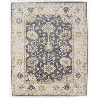 Hand-knotted Royal Ushak Grey Wool Rug - 8'0 x 9'11