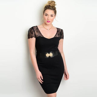 Shop the Trends Women's Plus Size Short Lace Sleeve Mini Bodycon Dress