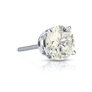 Auriya 14k Gold 3/4ct TDW Round-Cut Diamond 4-Prong Screw-Back Single Stud Earring (J-K, I2-I3)