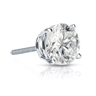 Auriya 14k Gold 1ct TDW Round-Cut Diamond 4-Prong Screw-Back Single Stud Earring (I-J, SI2-SI3)