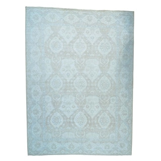Oversize Pure Wool Stone Wash Oushak Handmade Oriental Rug (14' x 19')