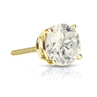 Auriya 14k Gold 1ct TDW Round-Cut Diamond 4-Prong Screw-Back Single Stud Earring (J-K, I2-I3)