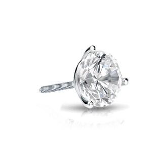 Auriya 14k Gold 1/4ct TDW Round-Cut Diamond 3-Prong Screw-Back Single Stud Earring (H-I, SI1-SI2)