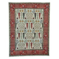 Antiqued Cypress and Willow Tree Design Hand-knotted Rug (8'1 x 10'7)