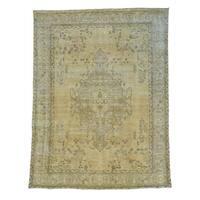 Pure Wool Overdyed Persian Tabriz Handmade Oriental Rug (9'1 x 11'10)