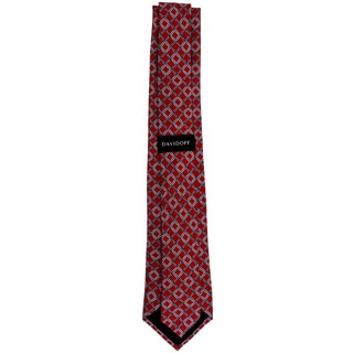 Davidoff 100-percent Silk Red/ Grey Box Neck Tie