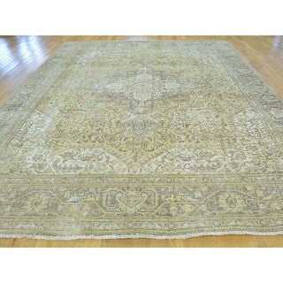 Semi Antique Handmade Persian Tabriz Overdyed Oriental Rug (9'2 x 12')