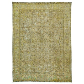 Semi Antique Handmade Persian Tabriz Overdyed Rug (9'4 x 12'9)