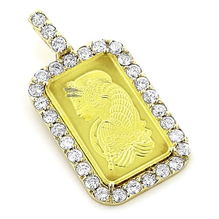 Luxurman 14k/24k Gold 3 1/10ct TDW Diamond Pamp Suisse Pendant (G-H, SI1-SI2)