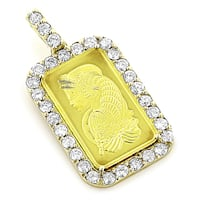 Luxurman 14k/24k Gold Diamond Pamp Suisse Pendant