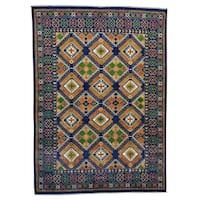 Hand-knotted Afghan Ersari Geometric Design Oriental Rug (9' x 12'5)