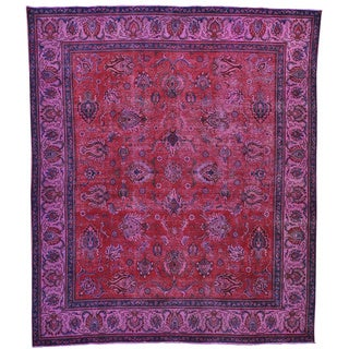 Tabriz Collection Purple Wash Overdyed Hand Knotted Wool